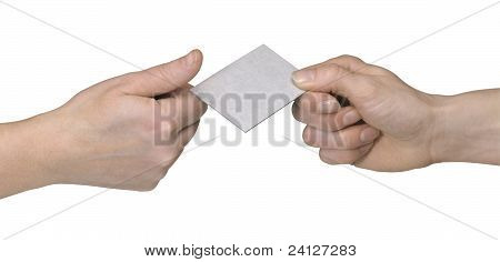 Hands While Handover Of Abusiness  Card