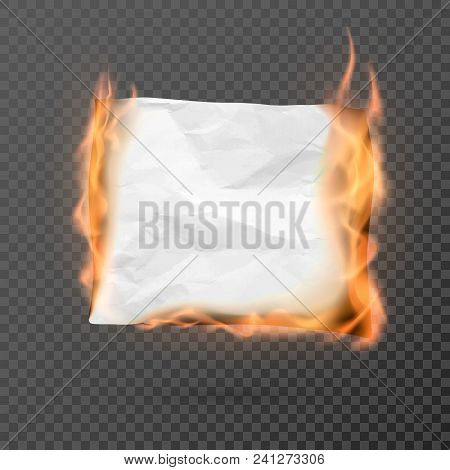Burning piece of crumpled paper with copy space. crumpled paper blank. Creased paper texture in fire. Vector illustration isolated on transparent background poster