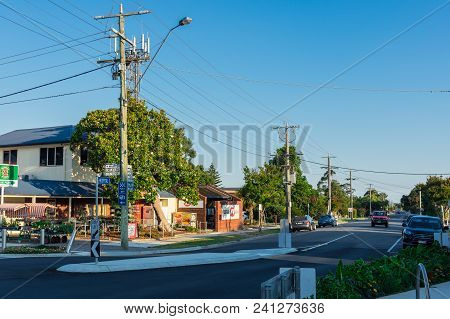 Foster, Australia - January 28, 2018: View Along Station Street In Foster, A Small Dairy And Farming