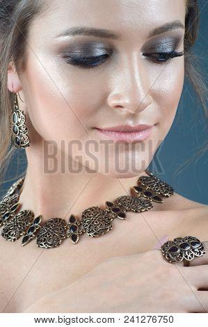Close Up Female Model Wearing Ethnic Jewelry
