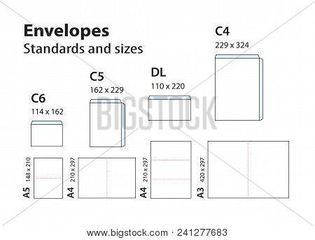 International Standard Envelopes For Paper Or Documents C6, C5, Dl, C4. Templates Of Bending Brochur