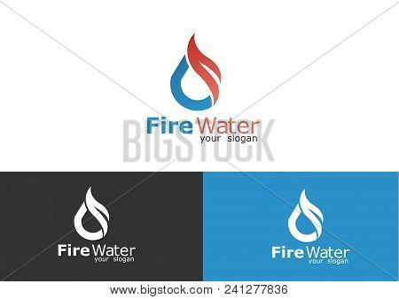 Water And Fire Logo. Plumbing Logo Vector.