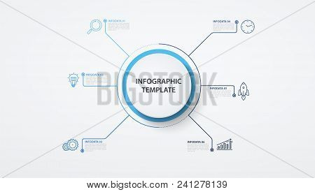 Infographics Circles With Lines  6 Options Or Steps. Business Concept, Block Diagram, Information Gr