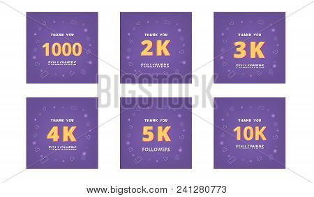 Set Of Followers Thank You Cards. Celebration  Subscribers  Banners. 1000, 2k, 3k, 4k, 5k, 10k Scree