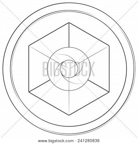 Expanse - Cryptocurrency Coin. Vector Thin Line Icon. Lineart Illustration On White Background. Inte