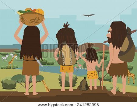 cavemen family wanders at Africa, funny cartoon illustrationof primitive people travelling at savanna poster
