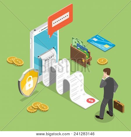 Flat isometric vector concept of receipt, online payment, money transfer, mobile wallet. poster