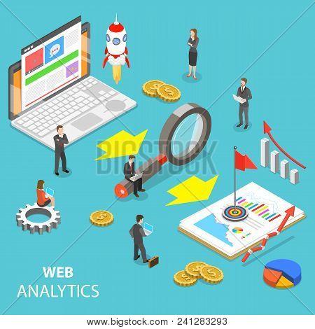 Flat Isometric Vector Concept Of Web Analytics, Website Statistic, Seo Audit Report, Marketing Strat