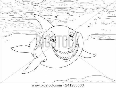 Killer Whale Swimming Among Drifting Ice Floes In A Polar Sea, Black And White Vector Illustration I