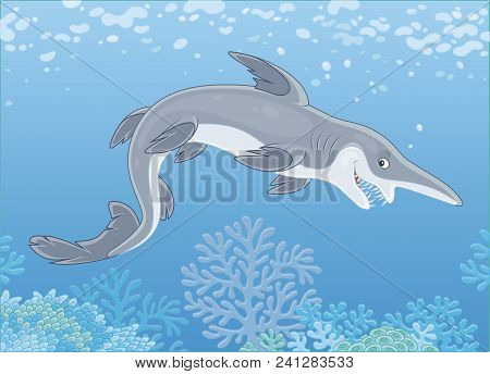Scary Deep-see Goblin Shark With An Insidious Smile Swimming Deep In A Sea, Vector Illustration In A