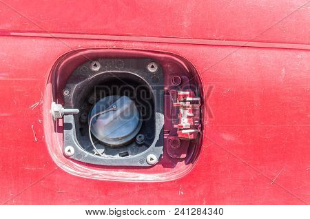 Stolen Or Broken And Missing Fuel Tank Cover For Damaged Car Petrol Or Diesel Fueling Supply