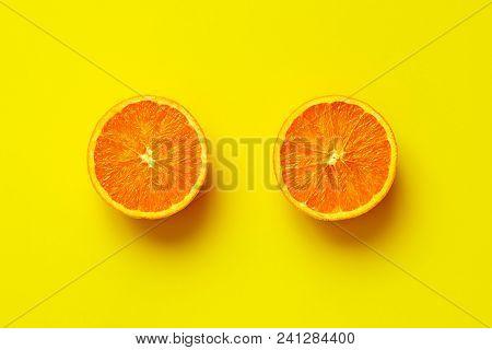 Orange Fruit. Orange Half Fruit Sliced Isolate On Yellow Background Seen From Above Flatlay Style, C