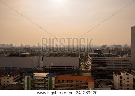 Bangkok City Downtown Cityscape Urban Skyline In The Mist Or Smog