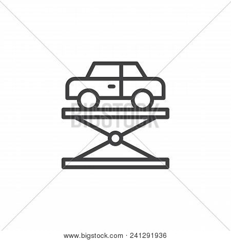 Car Lift Outline Icon. Linear Style Sign For Mobile Concept And Web Design. Hydraulic Car Lift Simpl