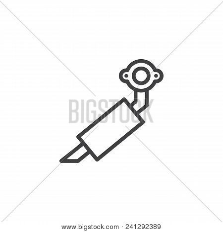 Car Exhaust Pipe Outline Icon. Linear Style Sign For Mobile Concept And Web Design. Car Muffler Simp