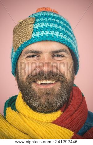 Portrait Of Smiling Bearded Man With Scarf And Hat. Fashionable Man With Scarf And Hat In Autumn/win