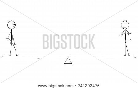 Cartoon Stick Man Drawing Conceptual Illustration Of Two Businessmen Partners Or Competitors Standin