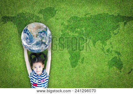 Earth Day, Ecological Friendly And Corporate Social Responsibility Concept With Kid Raising World On