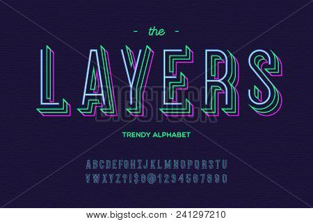 Layers Font. Alphabet Modern Typography Sans Serif Colorful Line Style For Party Poster, Printing On