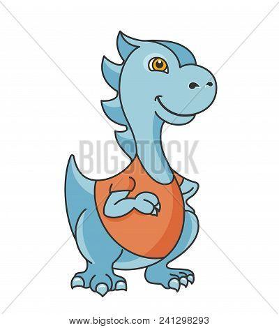 Cartoon Dragon Or Dinosaur Character. Editable Vector Illustration