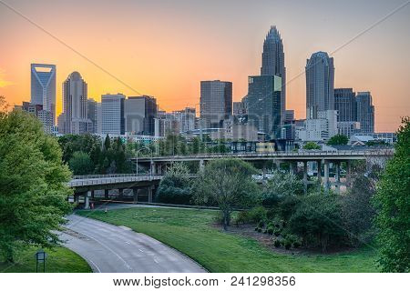 City Skyline Of Charlotte North Carolina At Sunset