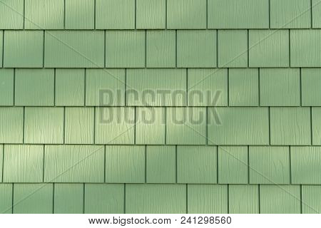 Background Of Wall With Green Cedar Shingles