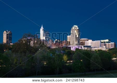 Raleigh, Nc - April 17, 2018: Raleigh, North Carolina Night Skyline From Dorothea Dix Park