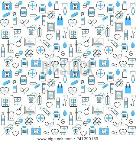 Seamless Pattern With Medical And Pharmacy Icons In Thin Line Style. Collection Of Line Web Icons Of