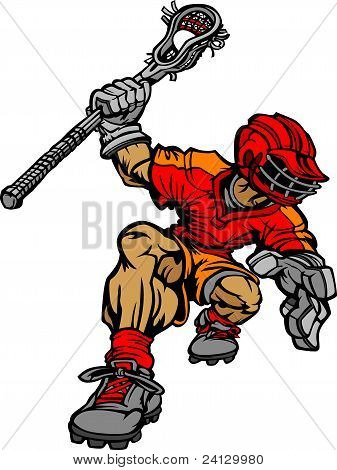 Lacrosse Player Holding Lacrosse Stick Graphic Vector Cartoon Image poster