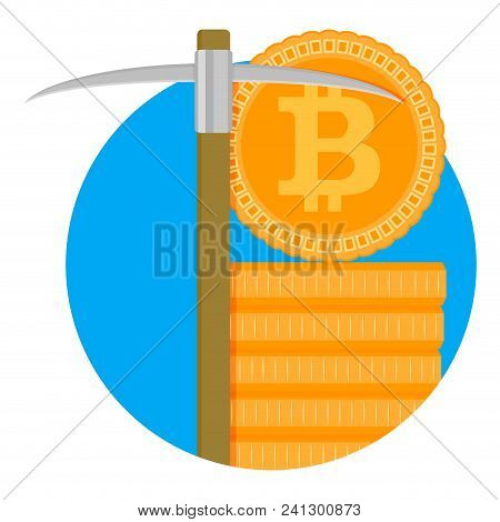 Mining Bitcoin Symbol. Mine With Pickaxe, Gold Crypto Bit Coin. Vector Illustration
