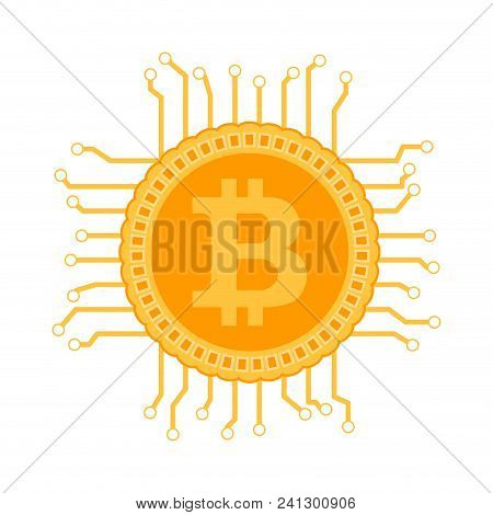 Block Chain Bitcoin Circuit. Vector Bitcoin Electronic Algorithm, Mining Virtual Bit Coin Illustrati