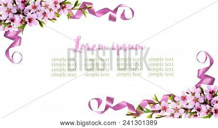 Spring Twigs Of Peach Flowers And Silk Ribbon Corner Arrangements Isolated On White Background. Flat