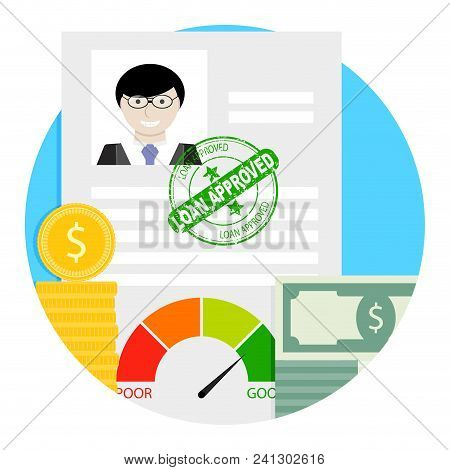 Loan Approved Icon. Financial Approval For Loan, Finance Mortgage Indicator For Banking Approved, Ve