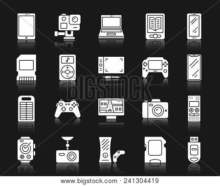 Device Silhouette Icons Set. Isolated Web Sign Kit Of Gadget. Electronics Pictogram Collection Inclu