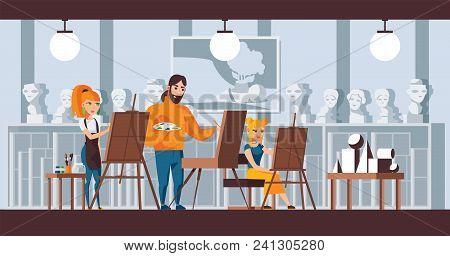 Art Studio Group Scene. Vector Horizontal Illustration Good For Fine Art Courses, Studio Of Watercol