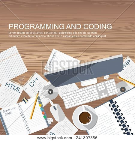 Programming And Coding Concept. Office Desk With Equipment. Application Development Icon For Website