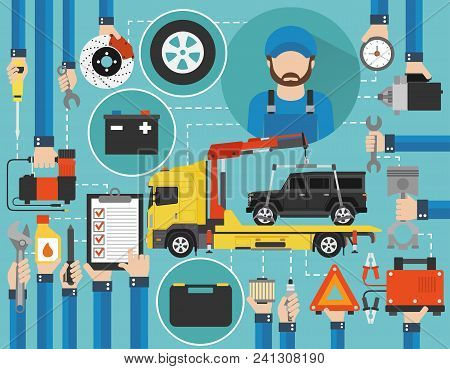 Car Service Online Call Flat Design With Wrecker Car And Mechanic Isolated Vector Illustration