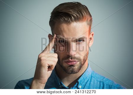 Thinking Man. Smart Businessman Looking Thoughtful While Holding His Head. Caucasian Man Thinking Lo