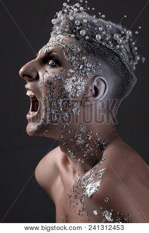 Man Fantasy Portrait. Silver Body Art. King Of Night.