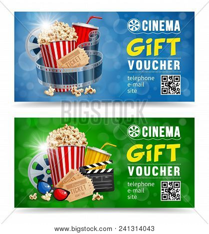 Cinema Gift Vouchers Designs With Popcorn And Other Elements On A Movie Theme On A Blue And Green Bo