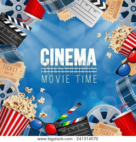 Cinematograph Concept Banner Design Template With Popcorn, Drink, Film Reel, Film Tape, Clapperboard
