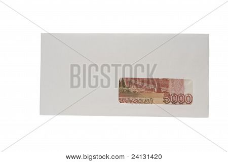 Closed white envelope of ruble