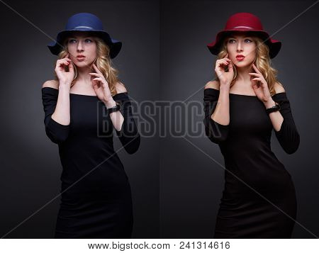 Comparison Collage Low Key Portraits Of Beautiful Sexy Woman Wearing A Hat And Looking In Camera Bef