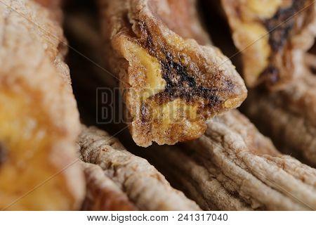 Dried Bananas Stack Snack. Macro Closeup. Sweet Tasty Tropical Desert.