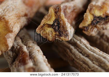 Dried Bananas Stack Snack. Macro Closeup. Tropical Organic Natural Health Vitamins.