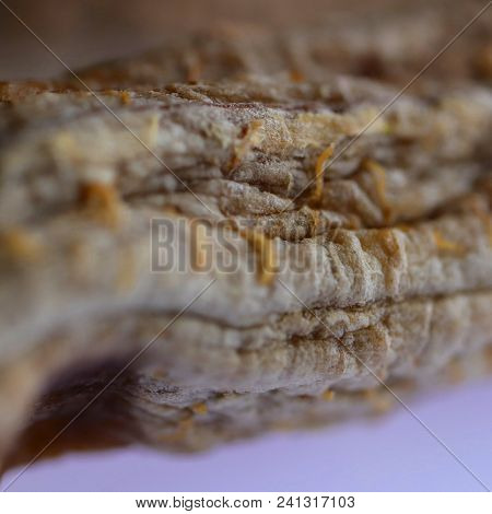 Hand Made Dried Banana. Macro Closeup. Organic Natural Health Vitamins.