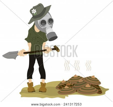 Man In The Gas Mask, Spade And Dunghill Illustration. Farmer In The Gas Mask With A Spade Stays Near