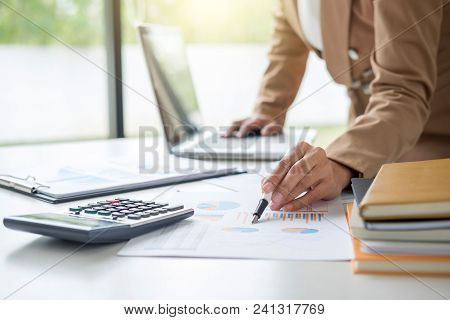 Business Financing Accounting Banking Concept, Businesswoman Working New Plan Financial Graph Data O
