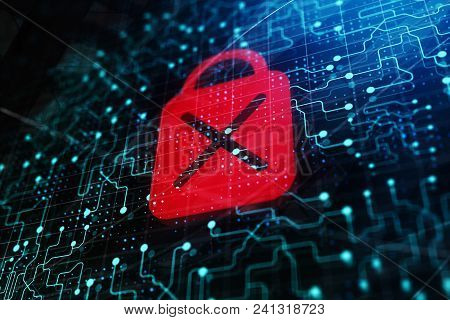 Abstract Access Denied Digital Padlock On Glowing Circuit Backdrop. 3d Rendering