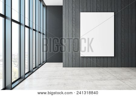 Empty Unfurnished Office Interior With Panoramic City View And Empty Poster On Wall. Mock Up, 3d Ren